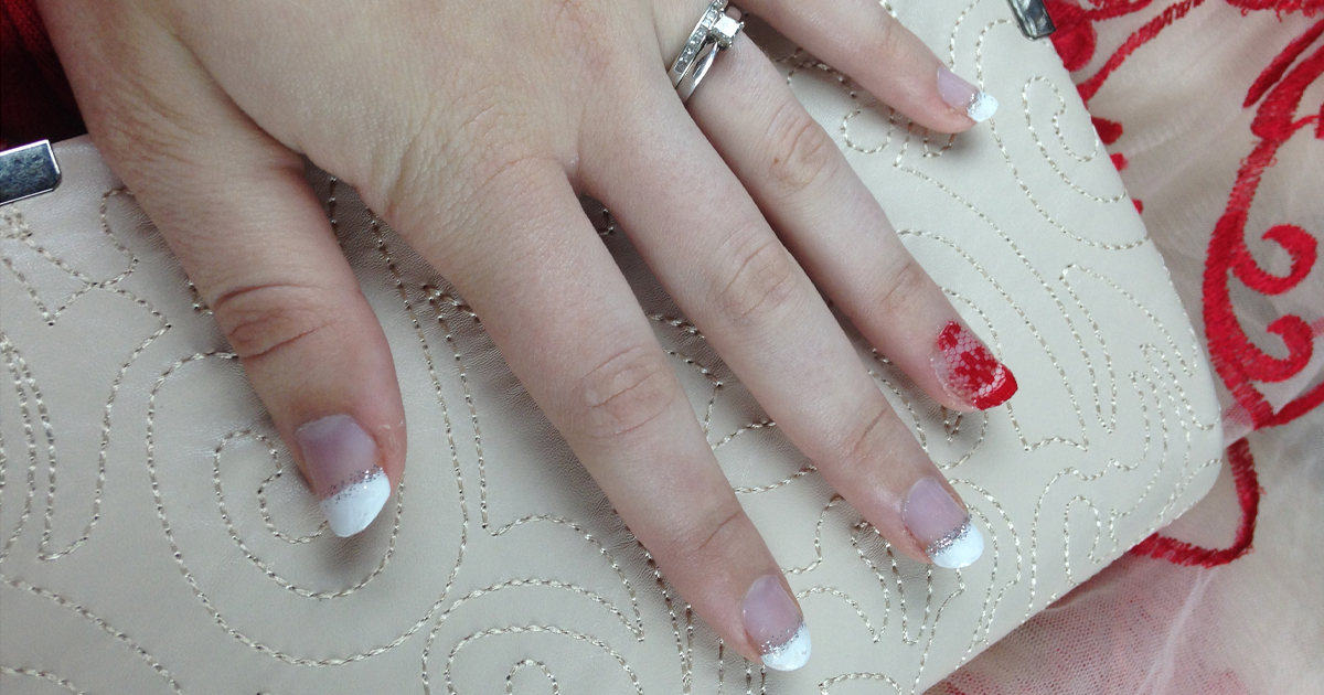 Red Lace French Tip Nails - Style Within Grace