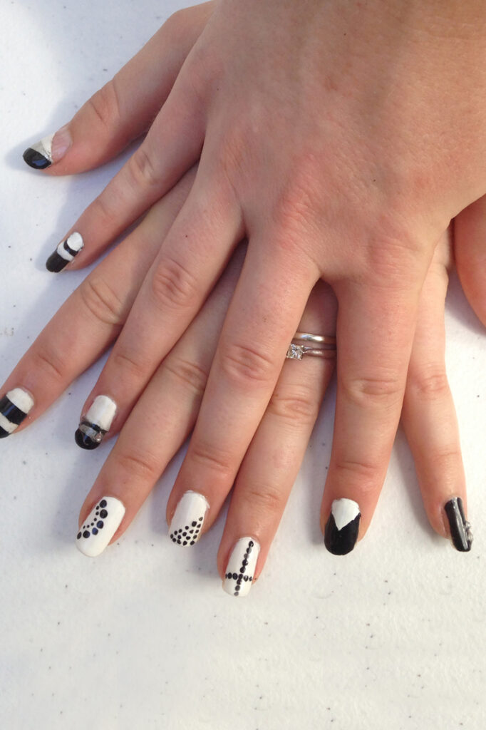 Black and White Geometric Nails