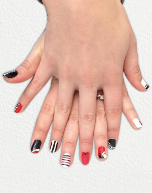 Black, Red and White Geometric Nails Feature Image