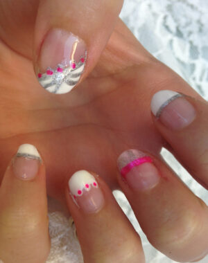 Pink and Silver French Tip Nails Feature Image