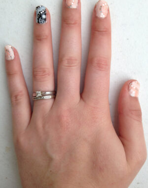 Classy Rose and Black Wedding Nails Feature Image