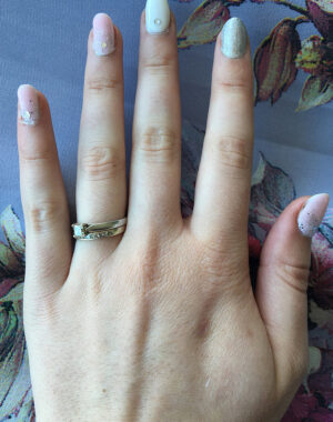 Simple Pink and Silver Wedding Nails Feature Image