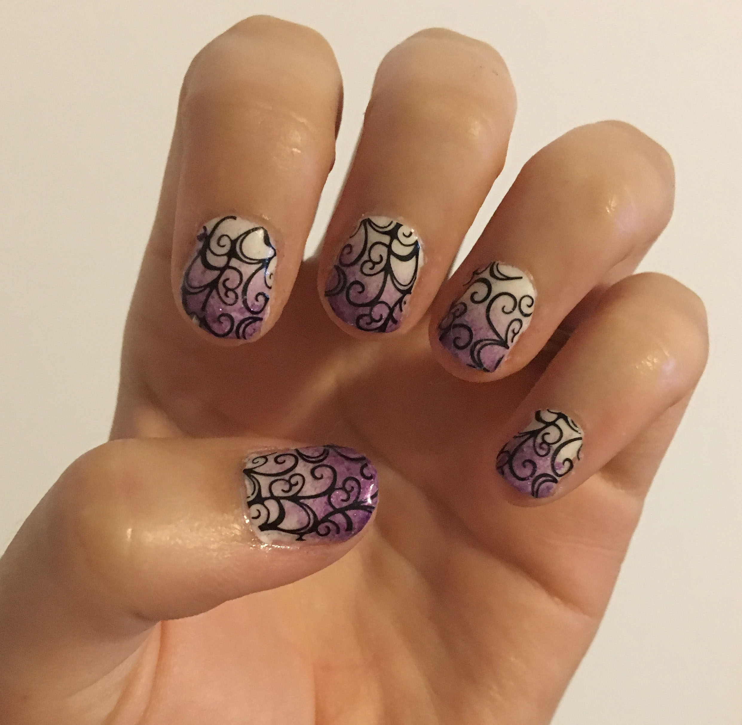 Purple Ombre Swirl Nails 1