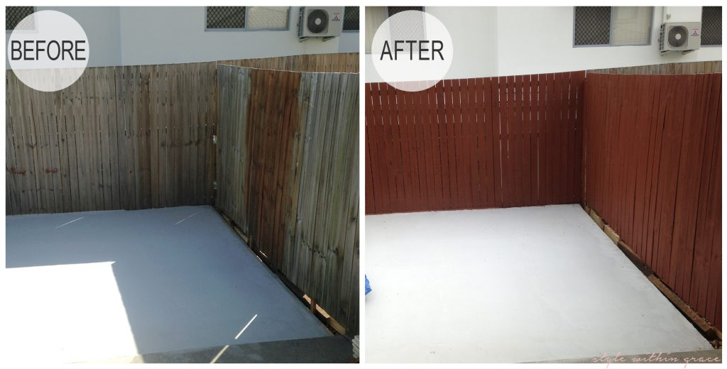 Backyard Makeover Fence Before and After Right