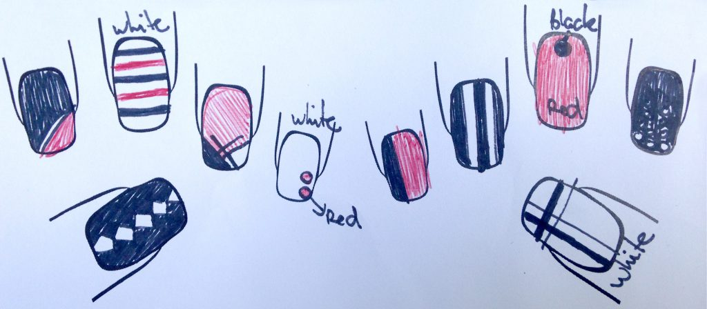 Black, Red and White Geometric Nails Plan