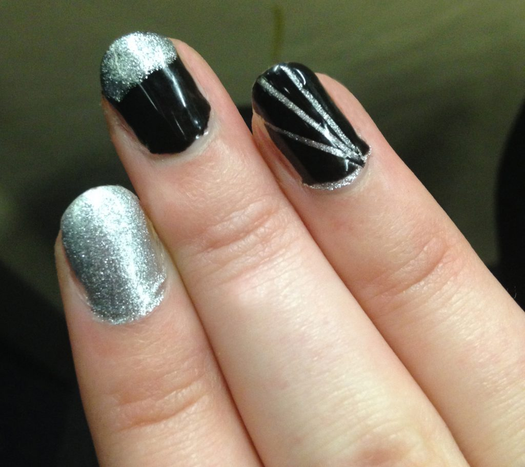 Black and Silver Nails 1