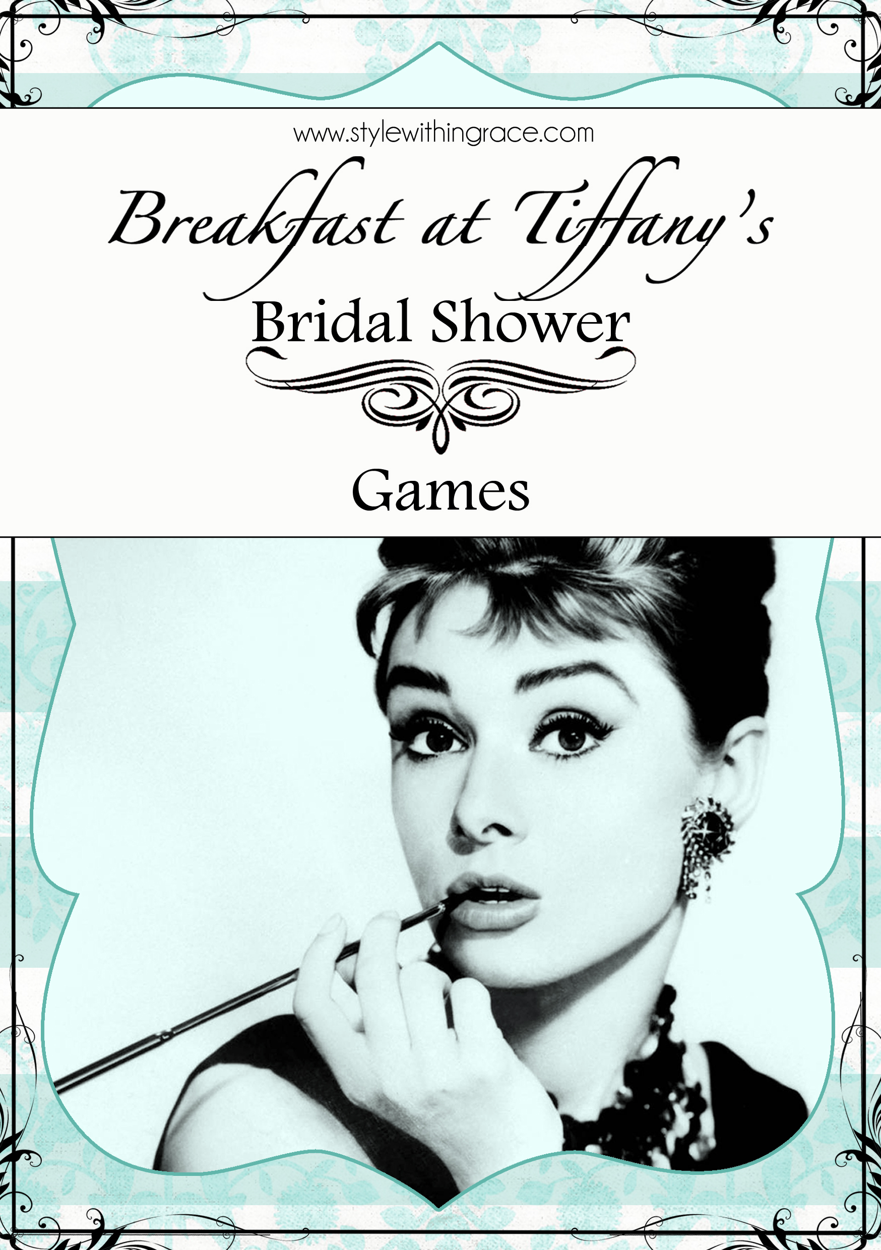 Classy yet affordable DIY bridal shower or hens night games themed around the movie Breakfast at Tiffany's. Free easy to use customizable printable templates.