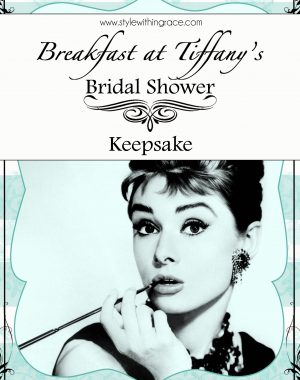 Breakfast at Tiffany's Bridal Shower Keepsake