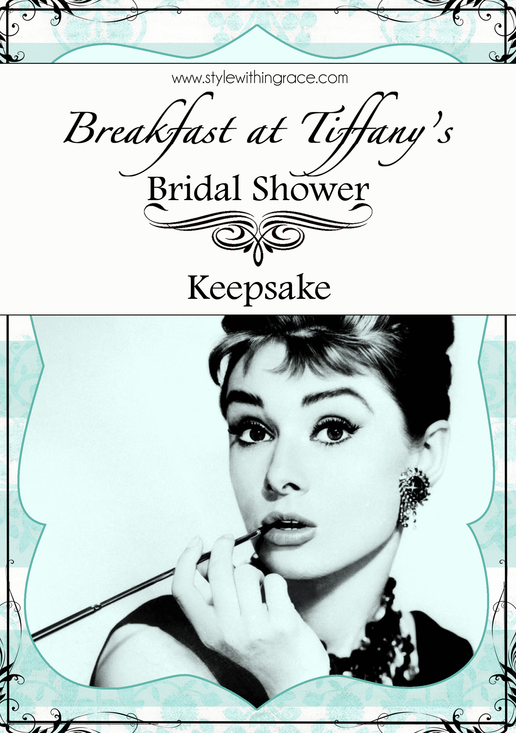 A great DIY Breakfast at Tiffany's themed bridal shower keepsake for the bride to remember her special day that's both cheap and easy.