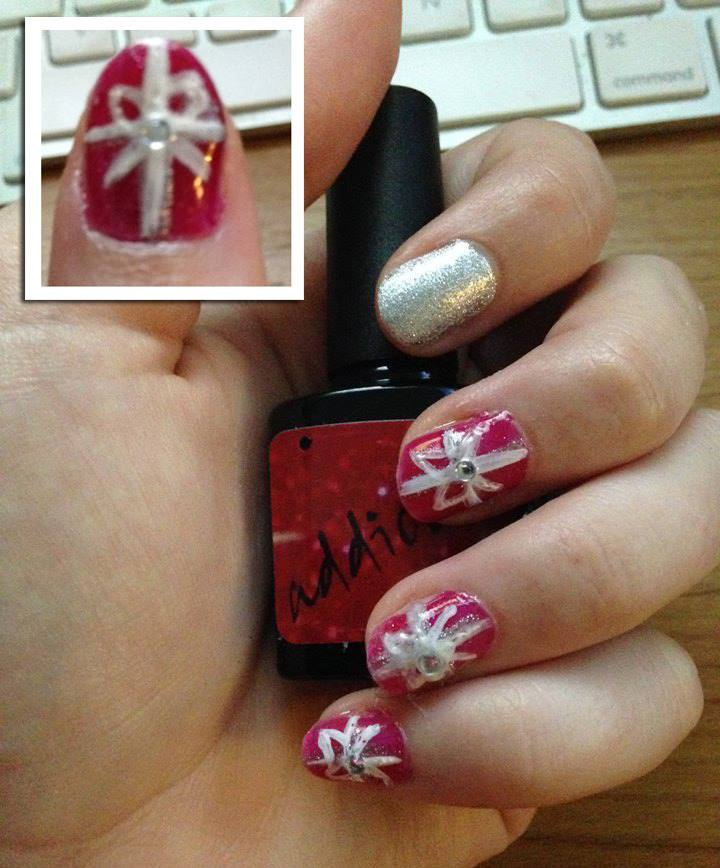 red and silver christmas present nails style within grace