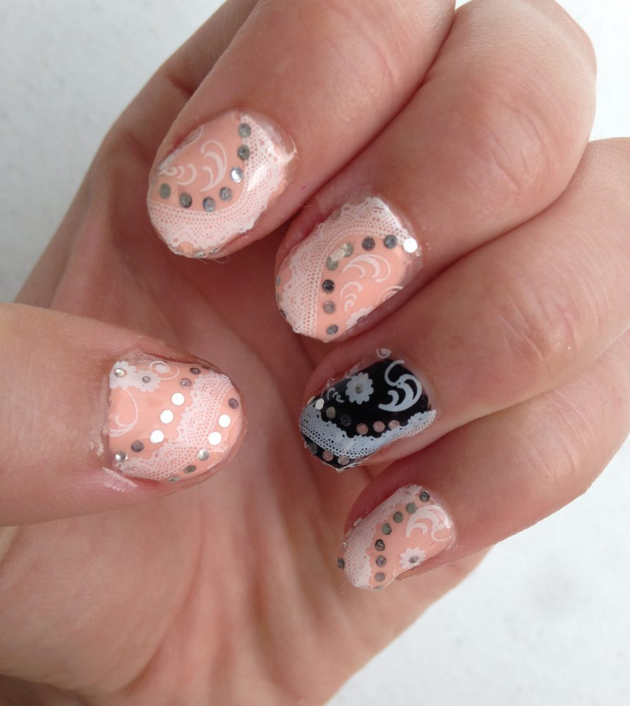 Classy Rose and Black Wedding Nails 2
