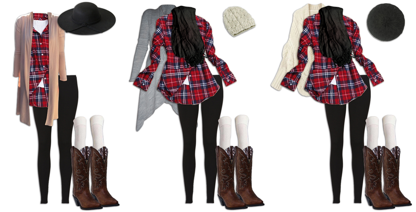 Leggings and Plaid Shirt Outfits Add Hat