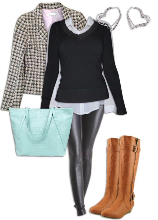 Leggings Outfit with a Cropped Blazerc