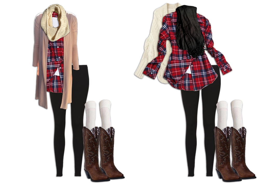 Leggings Outfit with Plaid Shirt and Neutral Scarf