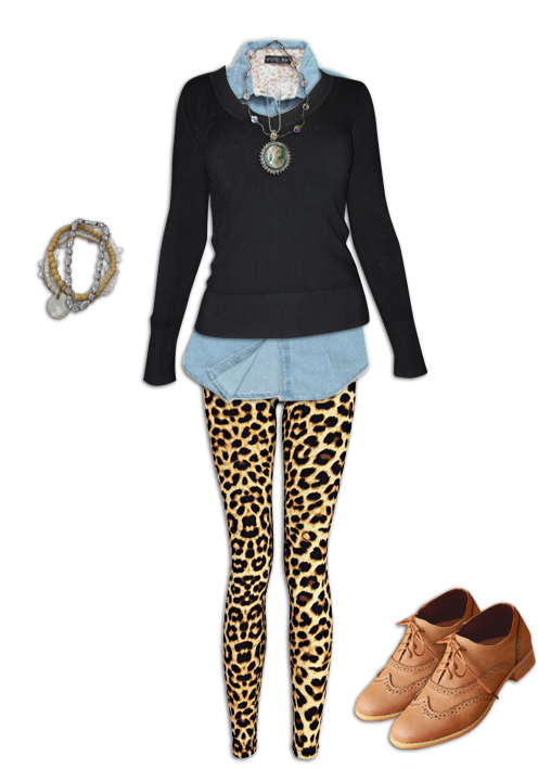 Leopard Print Leggings Casual Cool Outfit