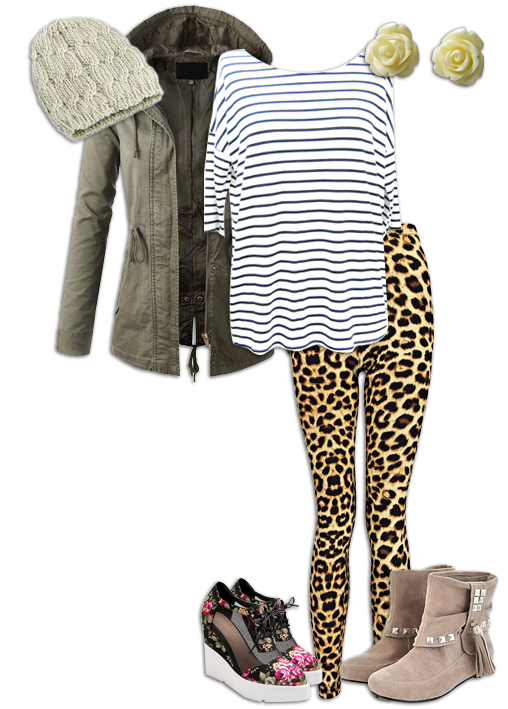 Leopard Print Leggings Pattern Mixing Outfit