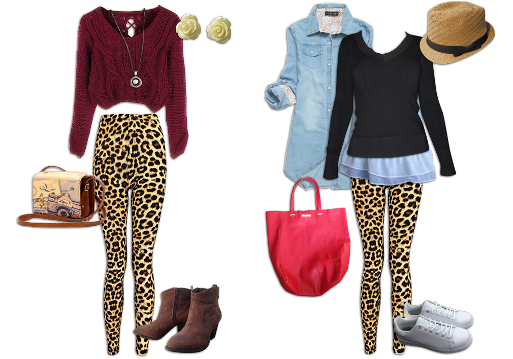 Leopard Print Leggings Outfit With Red