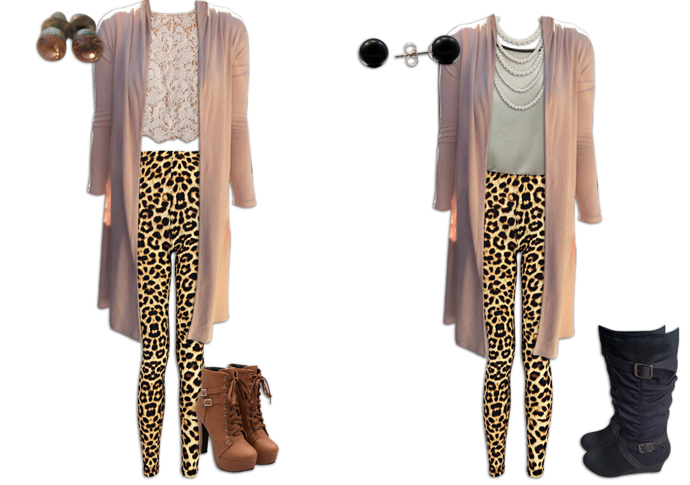 Leopard Print Leggings and Neutrals Outfits 1