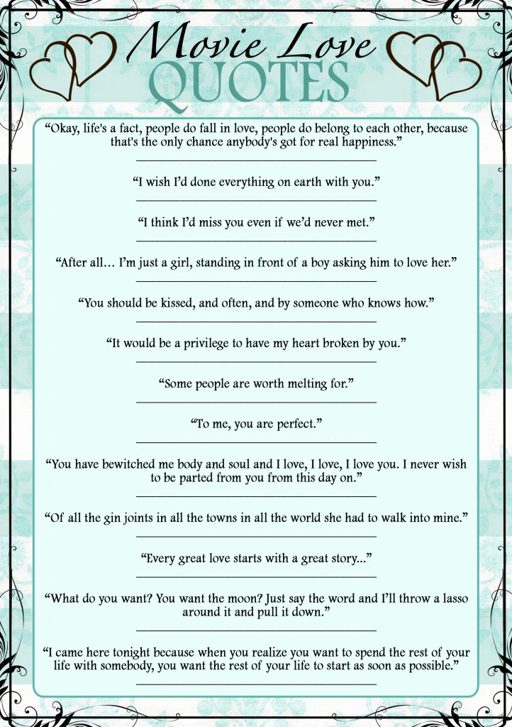 Breakfast at Tiffany's Bridal Shower Movie Love Quotes