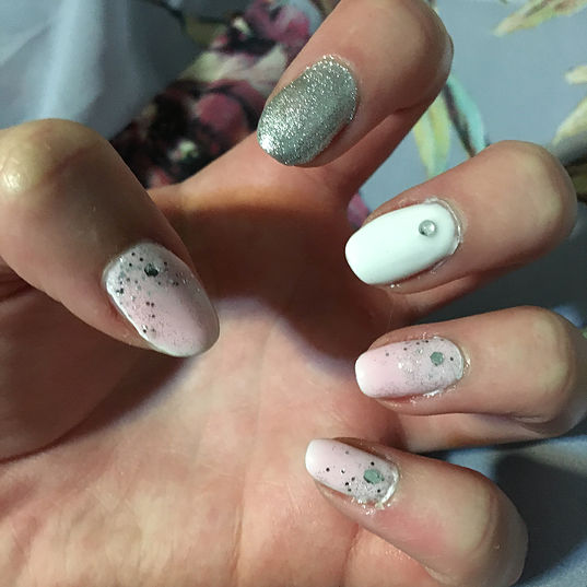 Pink and Silver Wedding Nails 1