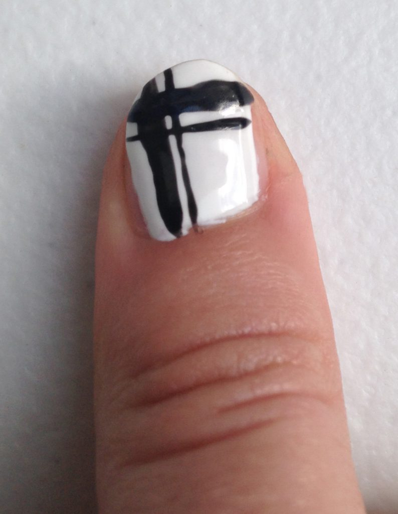 Red, Black and White Geometric Nails Right Thumb