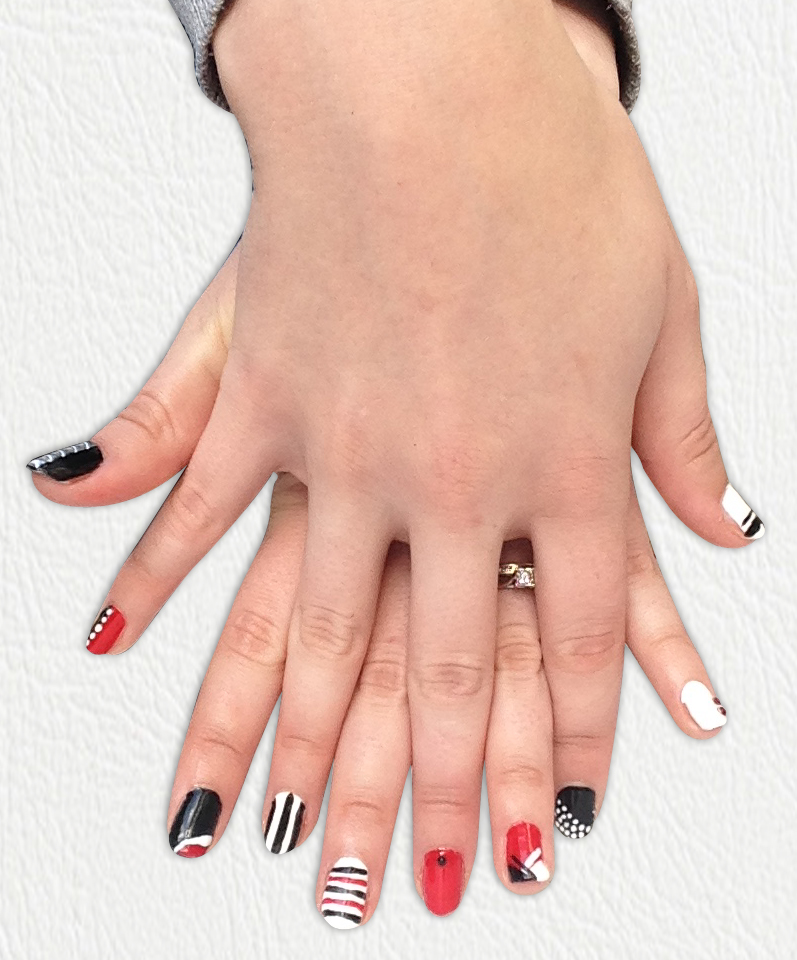 Red, Black and White Geometric Nails