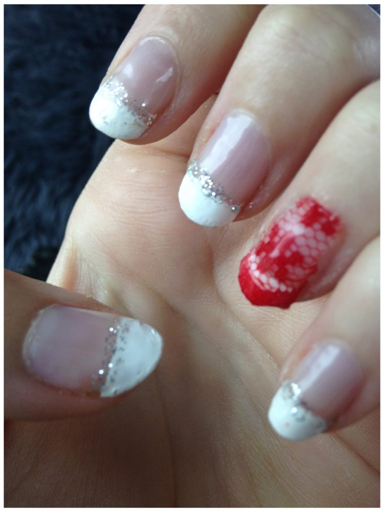 Red Lace French Tip Nails 2