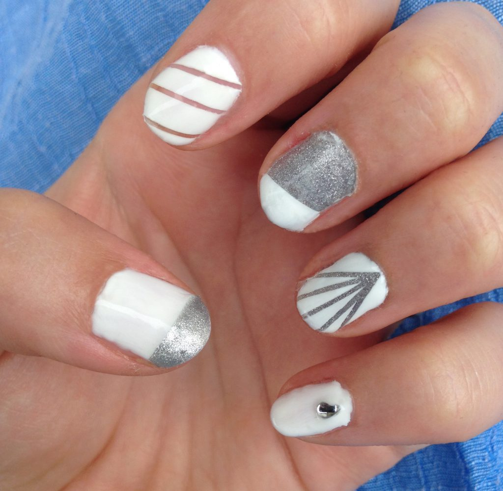 Silver and White Nails 1