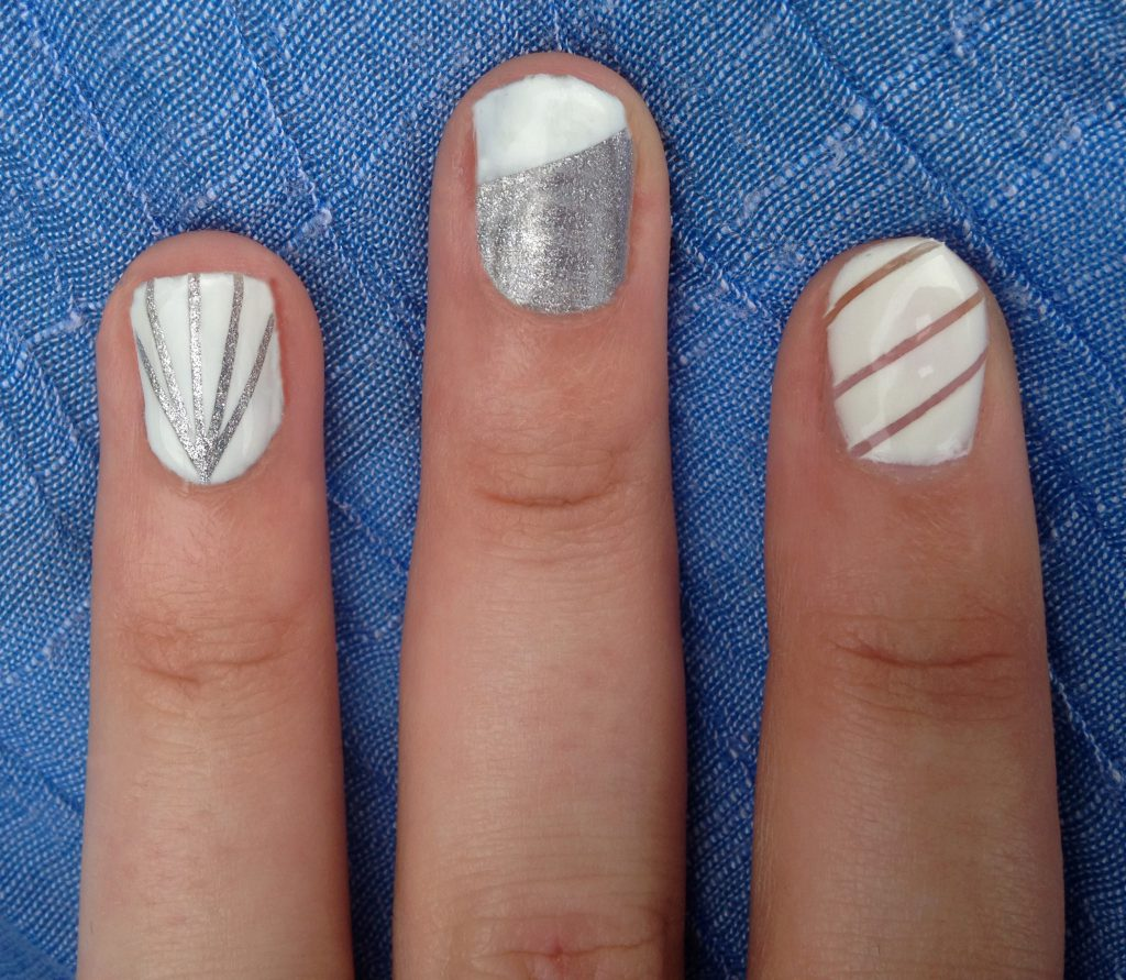 Silver and White Nails 2