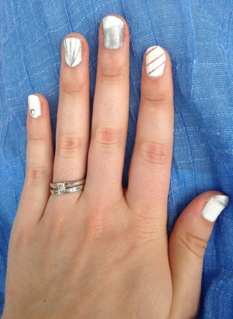silver and white nails using stripping tape style