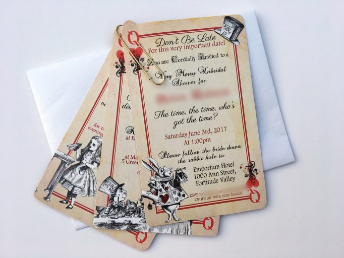 Alice In Wonderland Bridal Shower Playing Card Invites