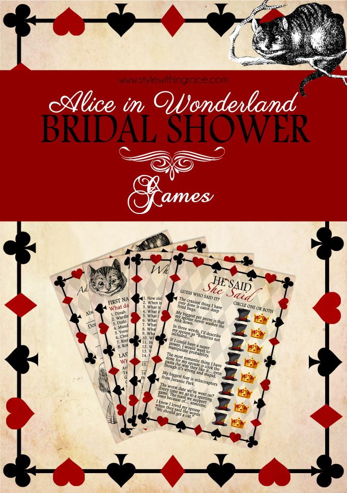Alice In Wonderland Bridal Shower Games Free Printable Templates