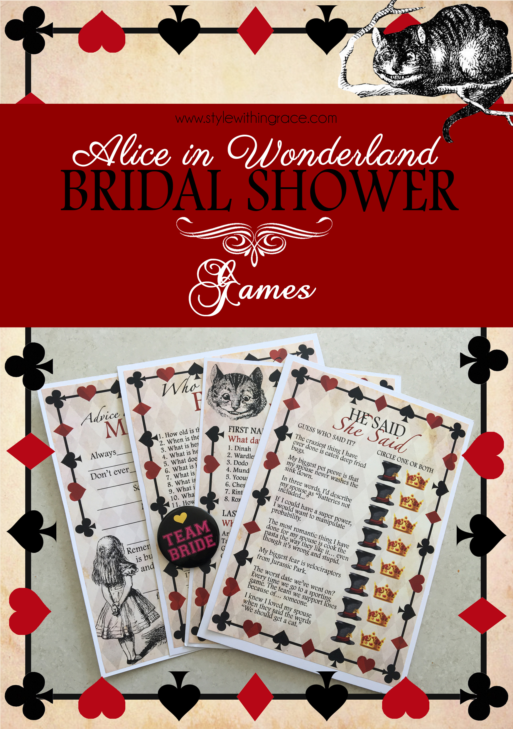 Alice in Wonderland Bridal Shower Games - Free printable templates and ideas for an awesome fun hens night or bridal shower themed around Alice in Wonderland.