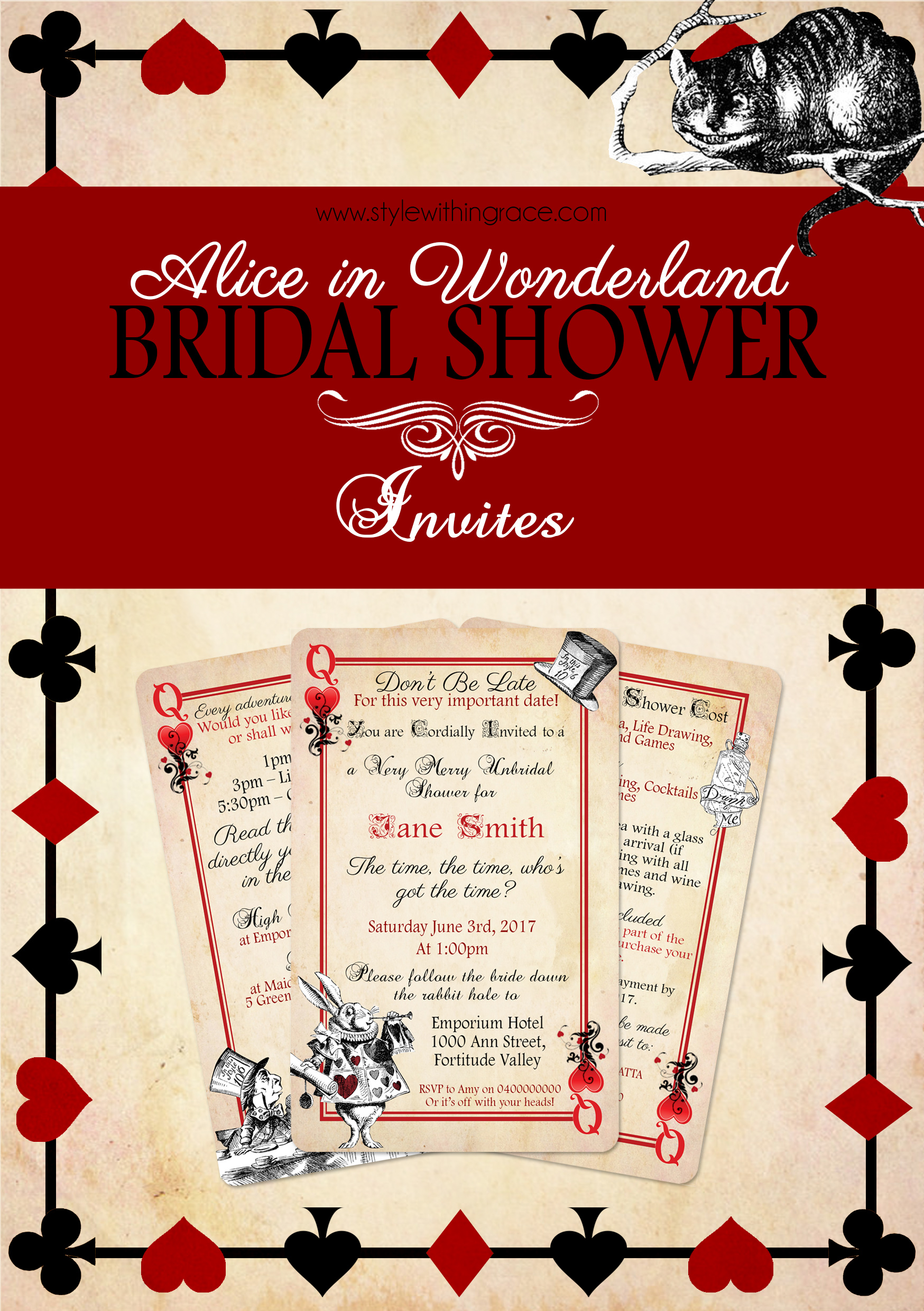 Alice In Wonderland Bridal Shower Invitation Template - More ...
