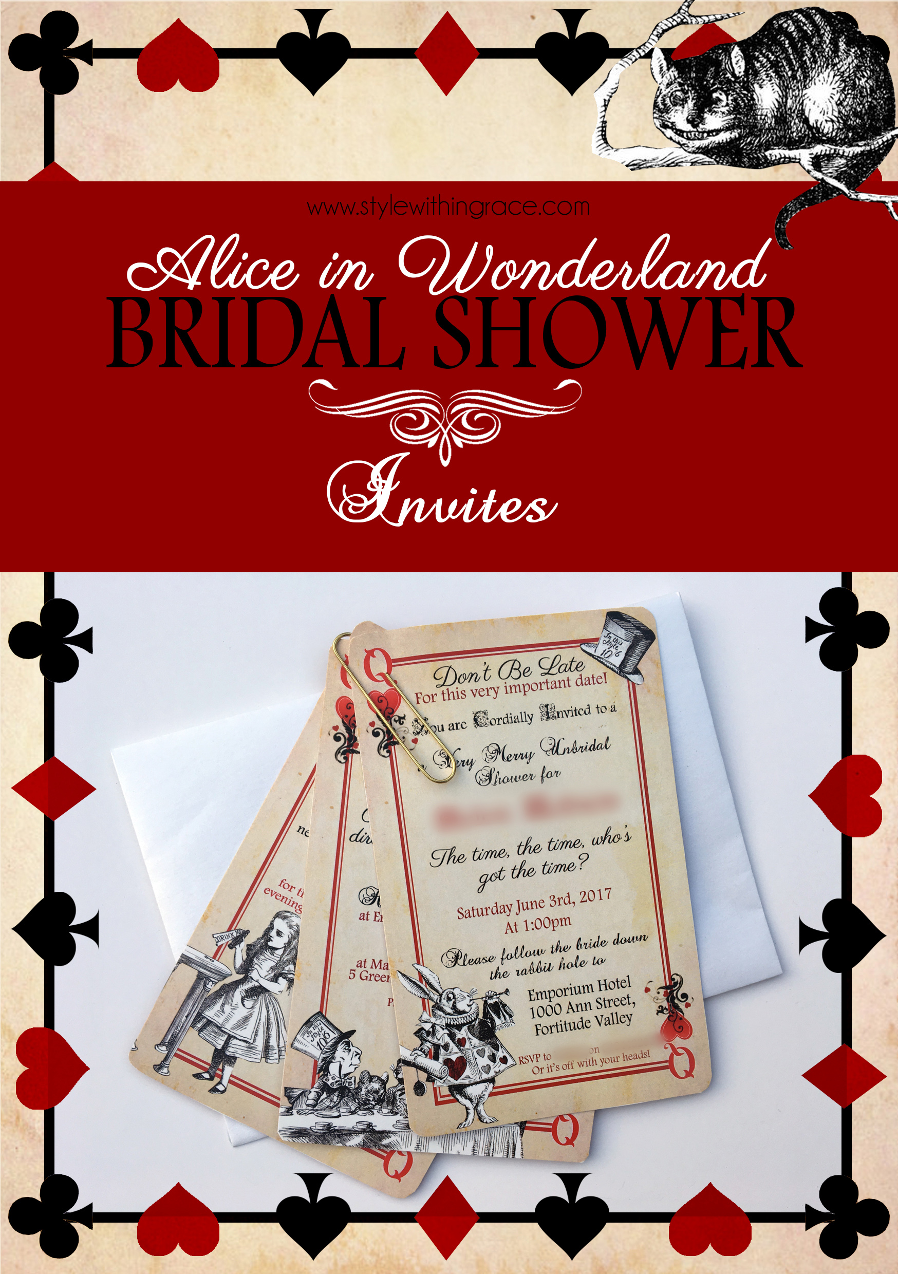 Alice In Wonderland Bridal Shower Invites - Free printable templates for an awesome playing card hens night invitation.