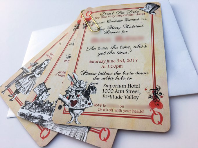 Alice In Wonderland Bridal Shower Playing Card Invites 2