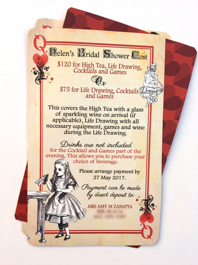 Alice In Wonderland Bridal Shower Playing Card Invites Card 3
