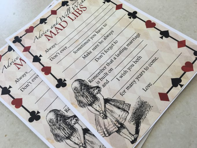 Alice in Wonderland Advice Mad Libs Bridal Shower Games 3