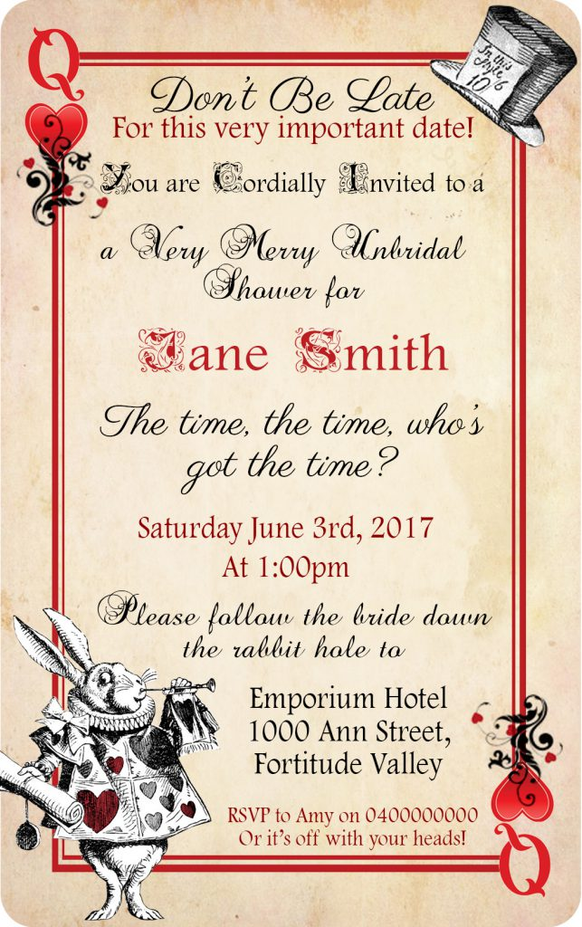 Alice In Wonderland Bridal Shower Invite Card 01