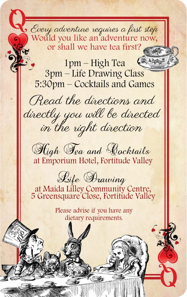 Alice In Wonderland Bridal Shower Invite Card 02