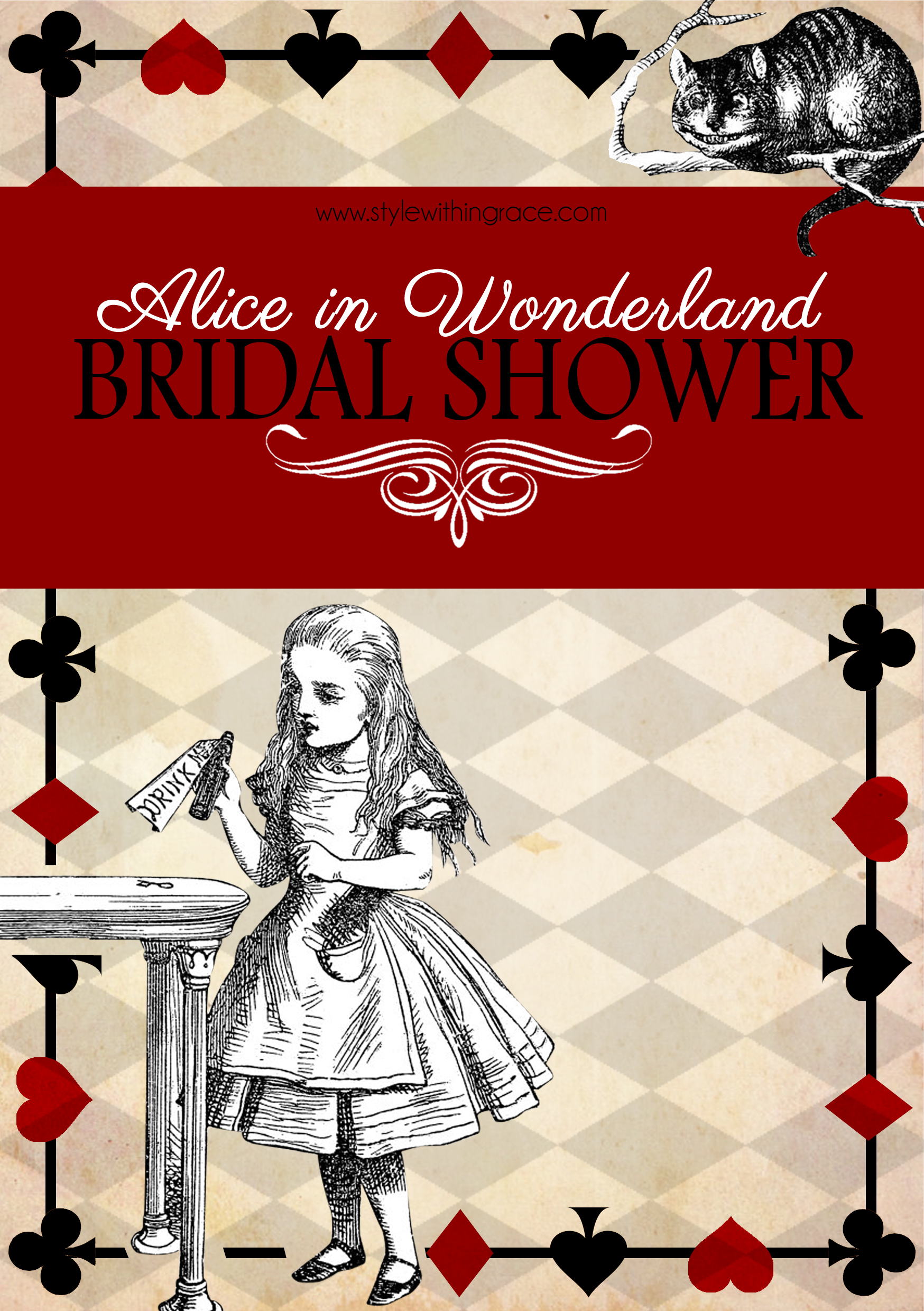 Alice In Wonderland Bridal Shower - Ideas and inspiration for planning your Wonderland themed bridal shower with free printables for invitations and games.