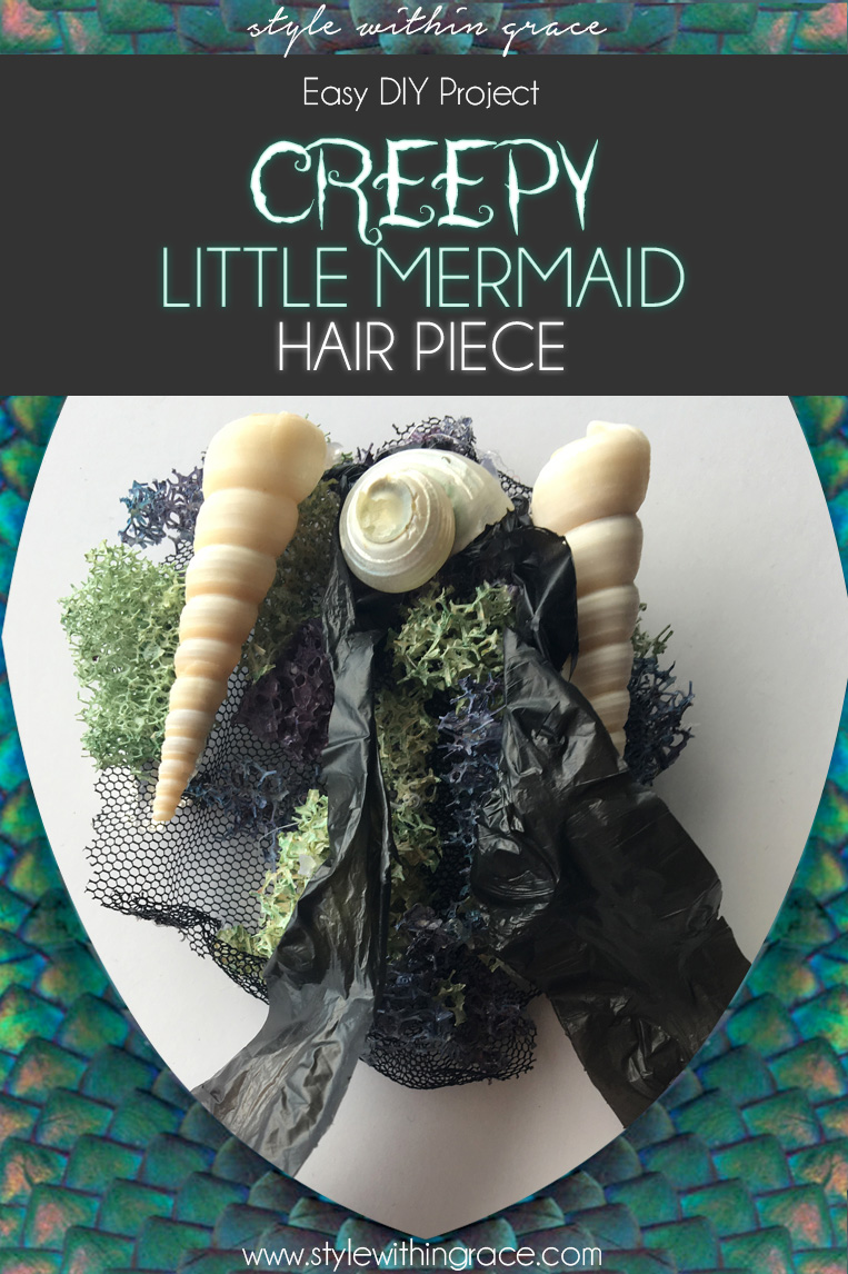 Creepy Little Mermaid Costume Hair Piece DIY - The perfect addition to your Halloween under the sea costume!