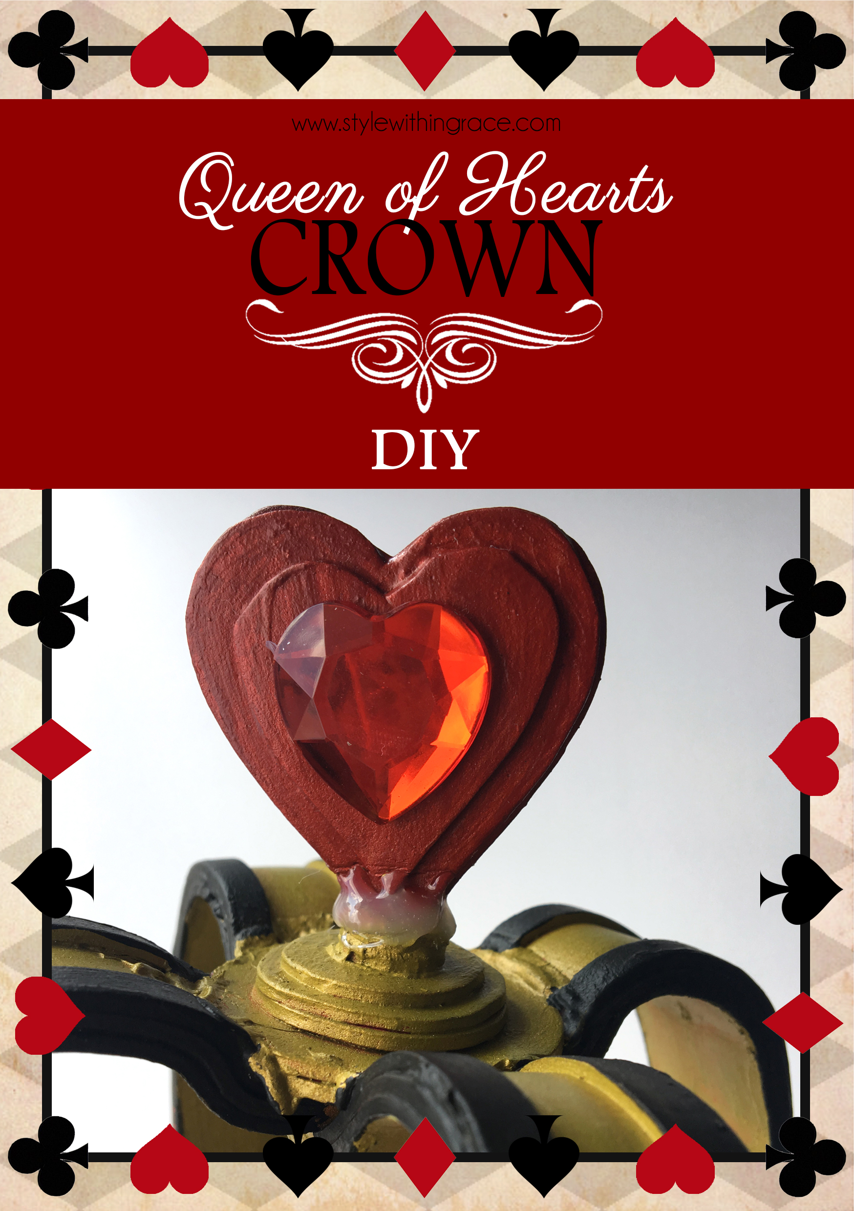 Queen of Hearts Crown DIY - An easy and perfect addition to your Wonderland themed costume.
