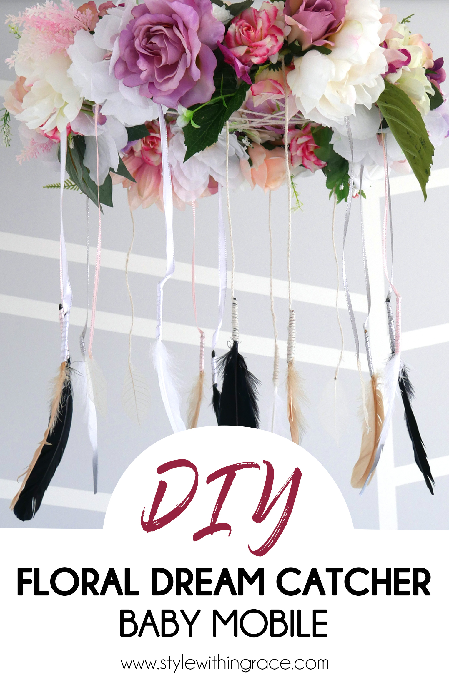 DIY Floral Dream Catcher Baby Mobile Pinterest Image 1