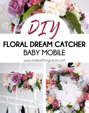 DIY Floral Dream Catcher Baby Mobile Pinterest Image 2