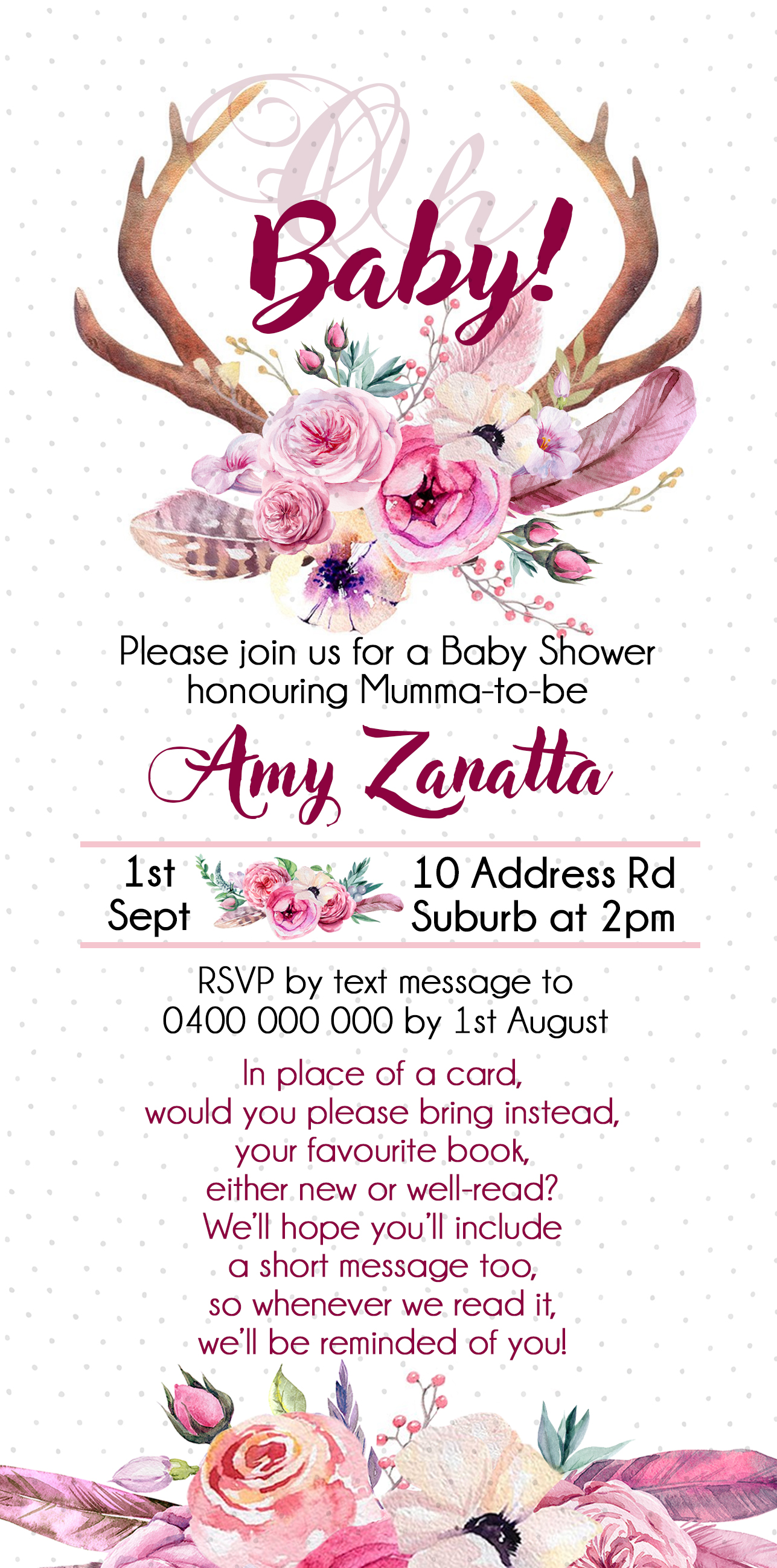 Spring Floral Baby Shower Invites - Generic