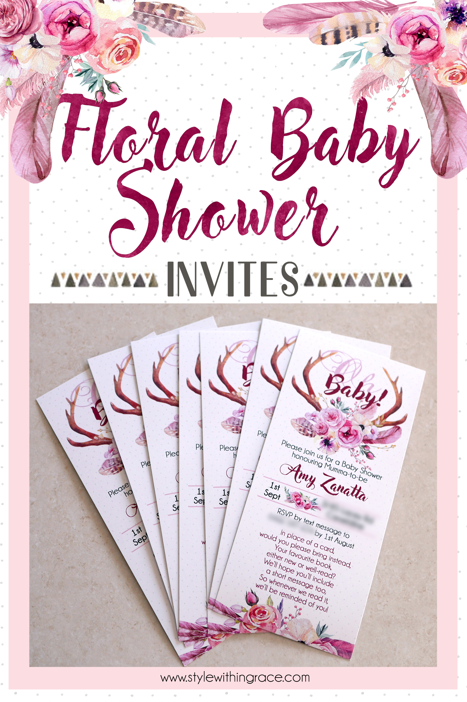 Celebrate the baby girl on the way with these lovely spring boho watercolour floral baby shower invites. Free printable templates included and printing instructions to get perfect results! Stress free party invitations for the expectant mother.