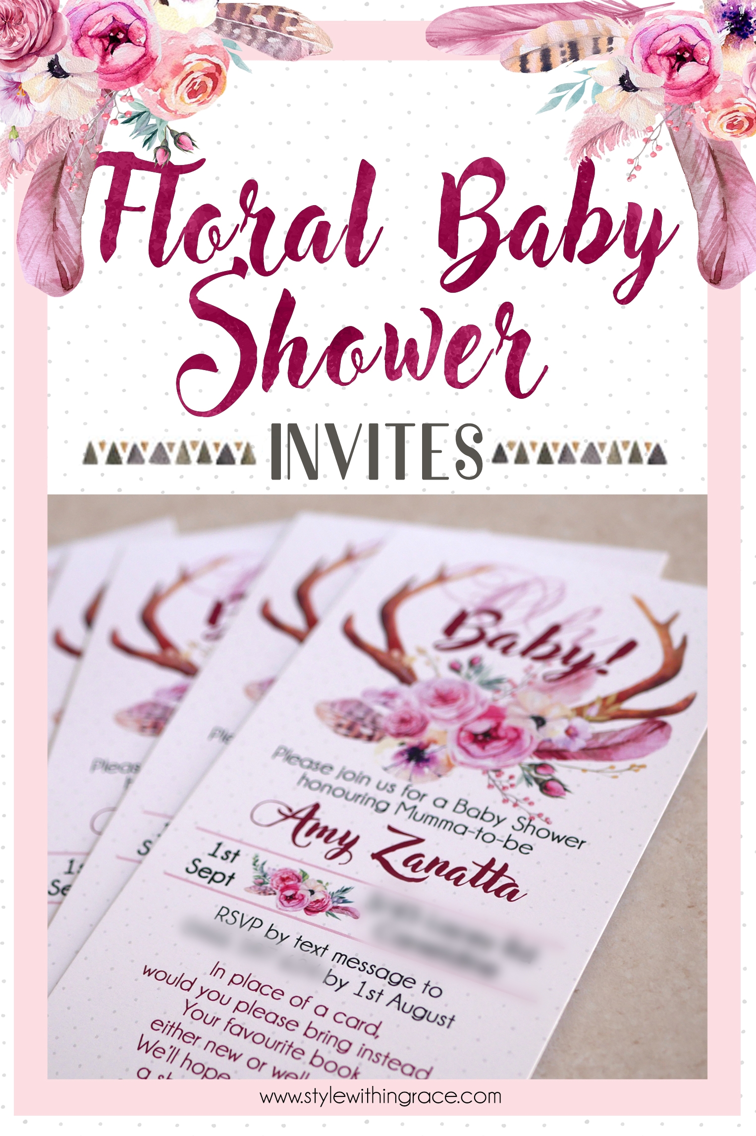 Floral Baby Shower Pinterest Graphic - Invites 02