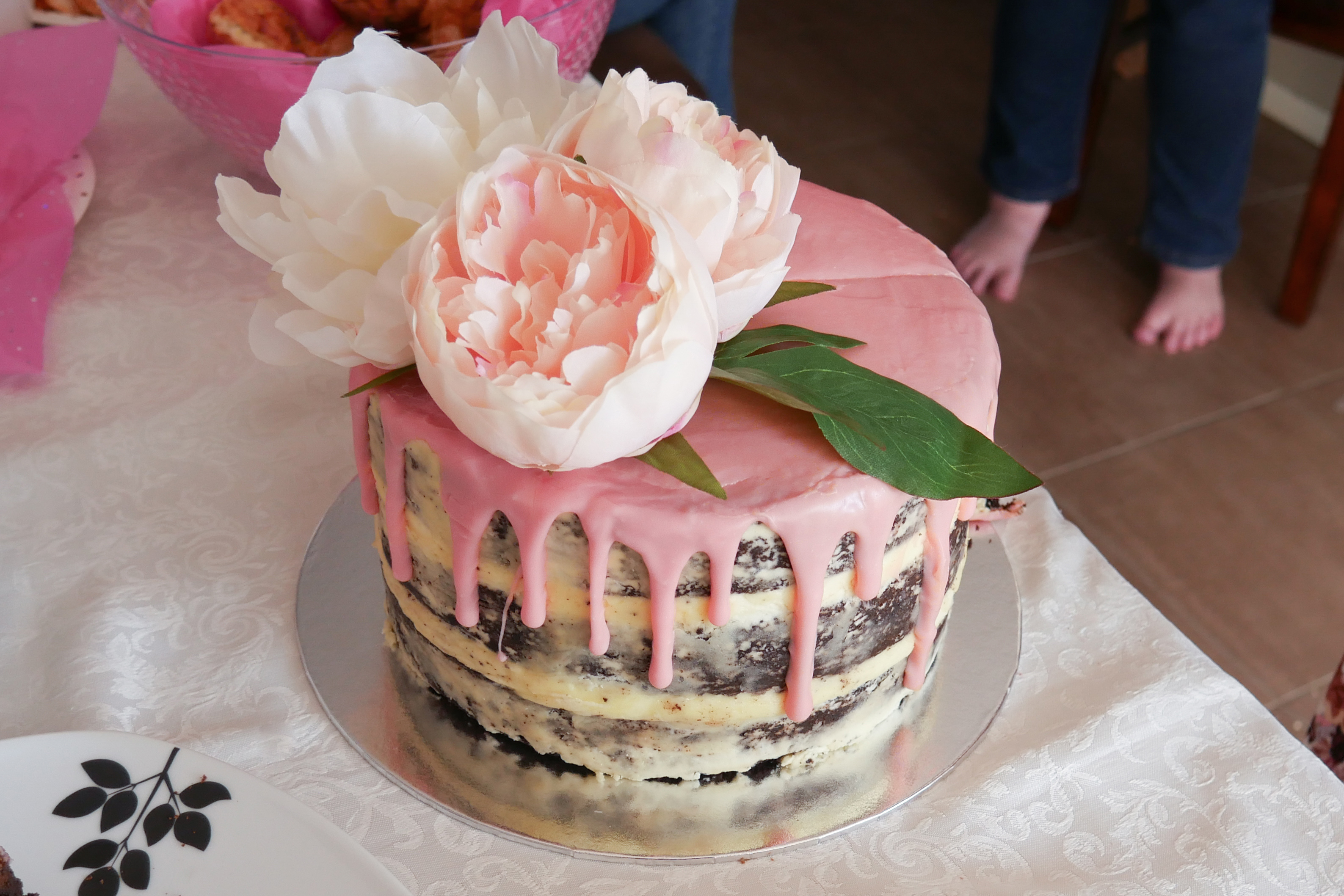 Naked Floral Drip Baby Shower Cake 4