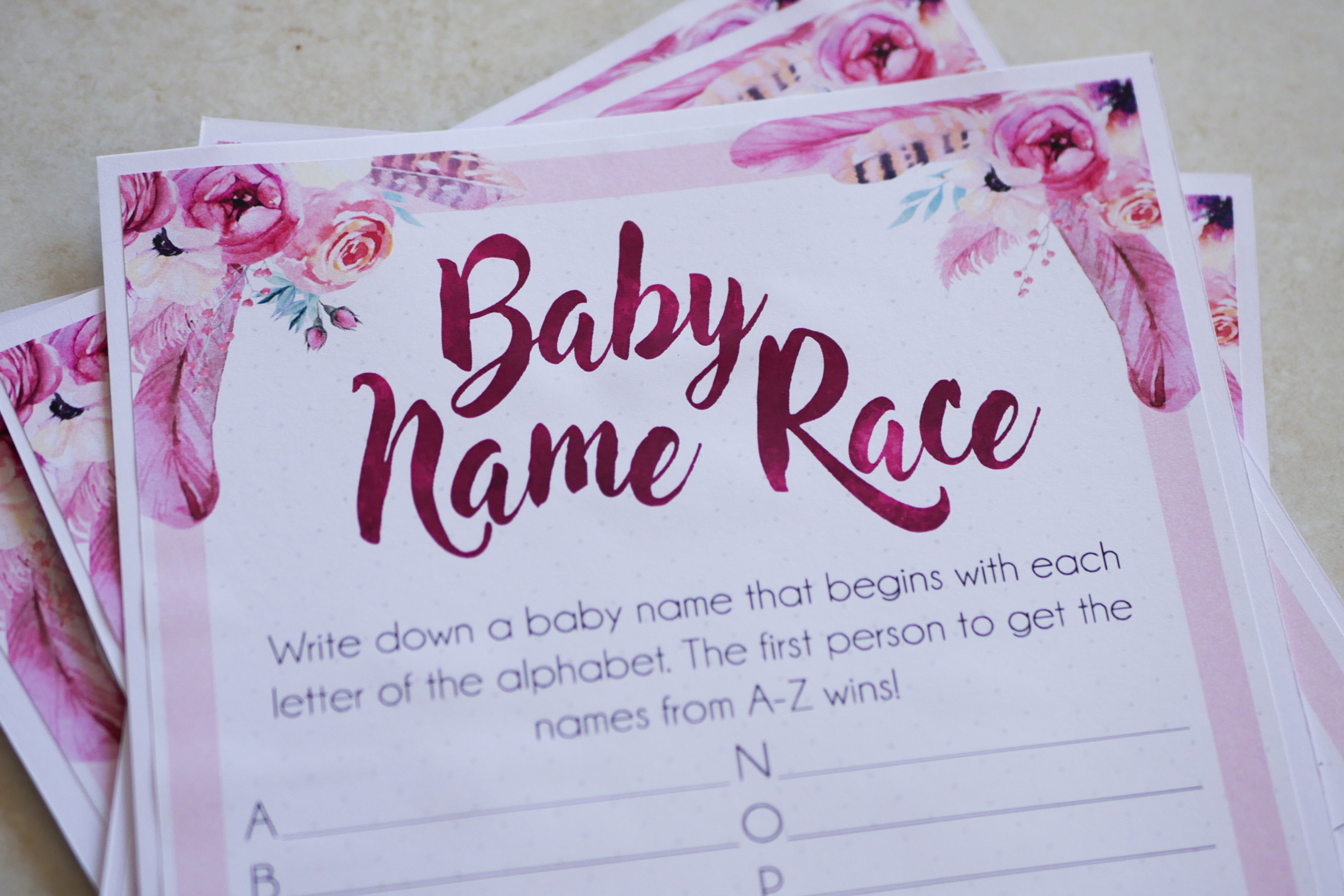 Baby Name Race Game 1